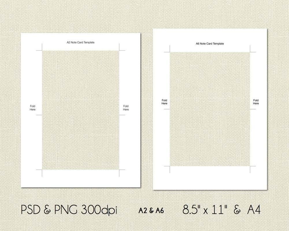 A And A Folded Note Card Printable Template X  Etsy Within A2 Card Template