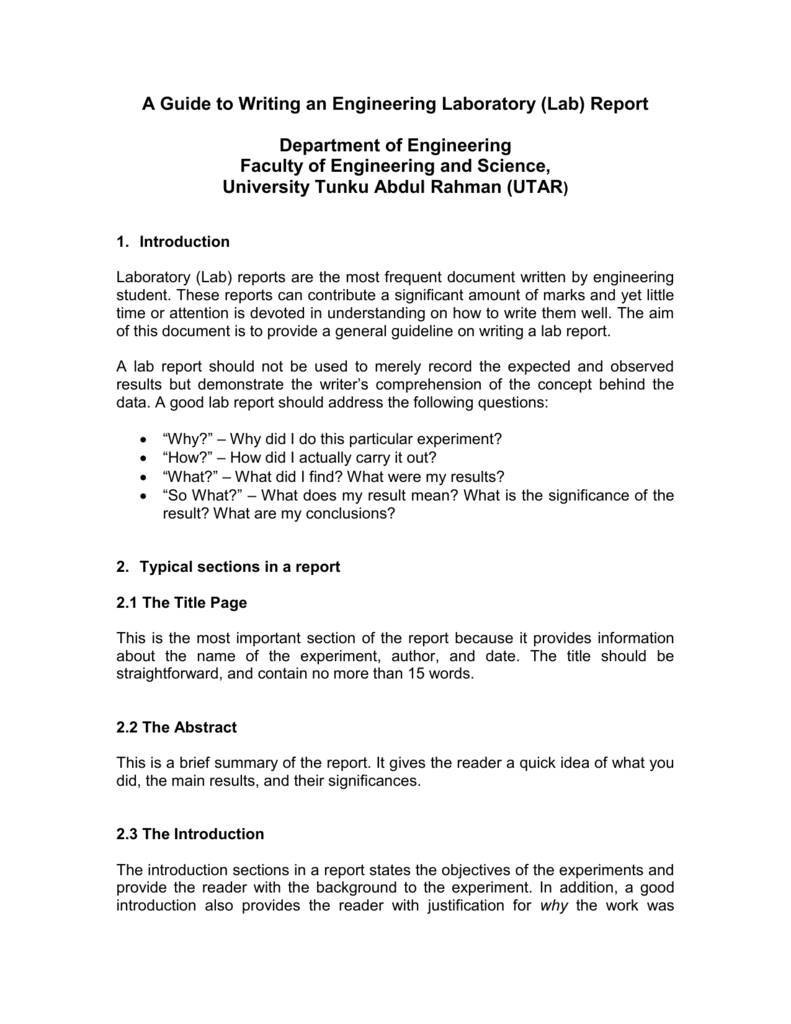 A Guide To Writing An Engineering Laboratory Lab Report Inside Engineering Lab Report Template