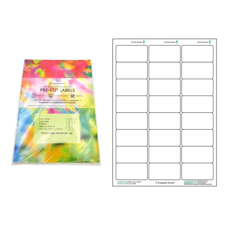 A Precut Multi Matte White Paper Labels X  Labels Per Sheets Regarding 3X8 Label Template