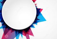Abstract Bright Blue And Pink Geometric Shape With Blank Circle for Blank Templates For Flyers
