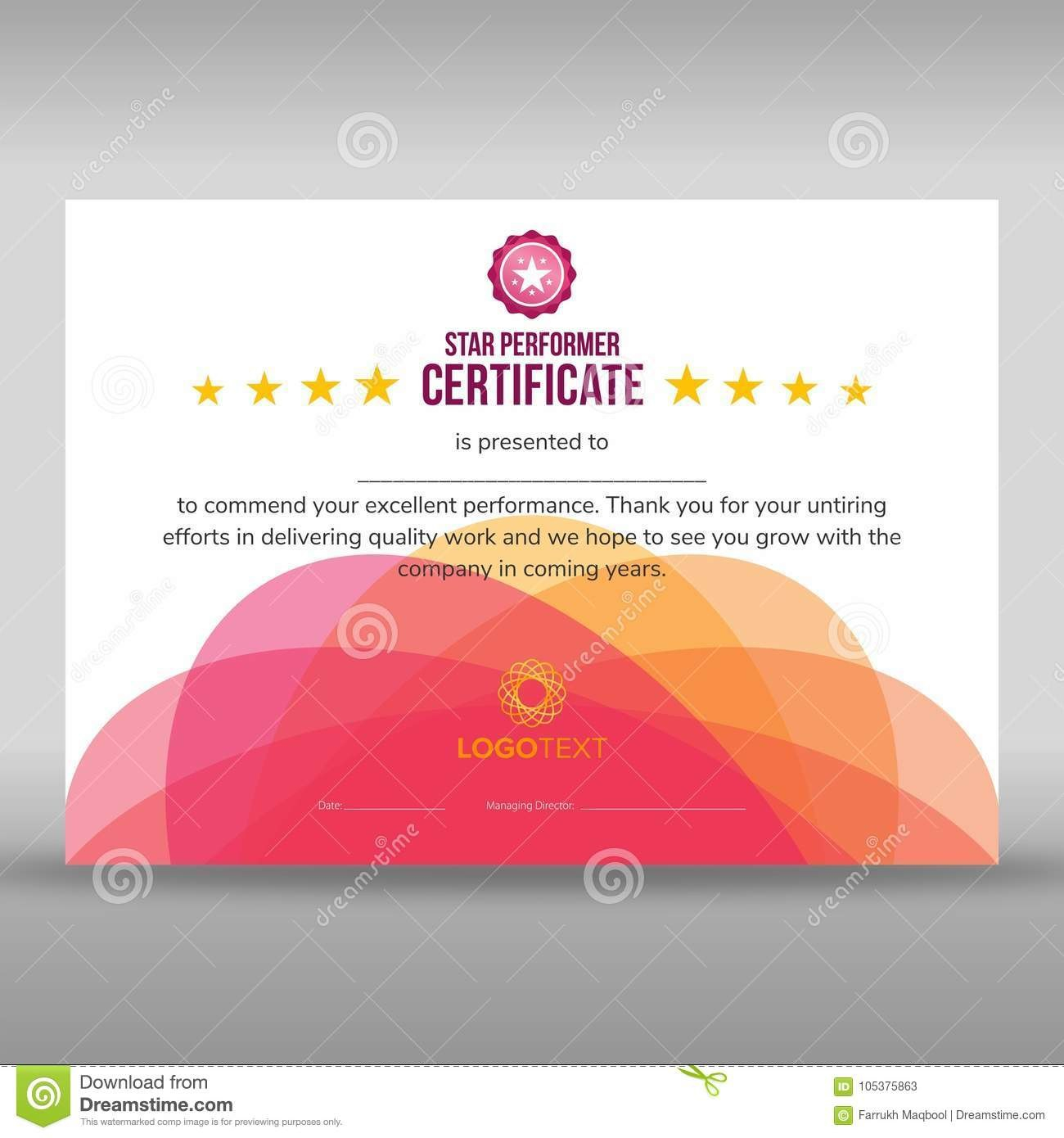 Abstract Creative Pink Star Performer Certificate Stock Vector Regarding Star Performer Certificate Templates