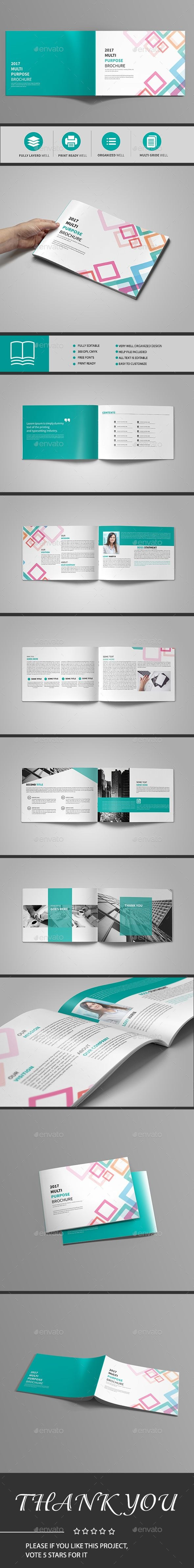 Abstract Landscape Brochure  Page — Indesign Template • Only throughout 12 Page Brochure Template