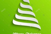 Abstract Modern D White Christmas Tree On Green Background Stock throughout 3D Christmas Tree Card Template