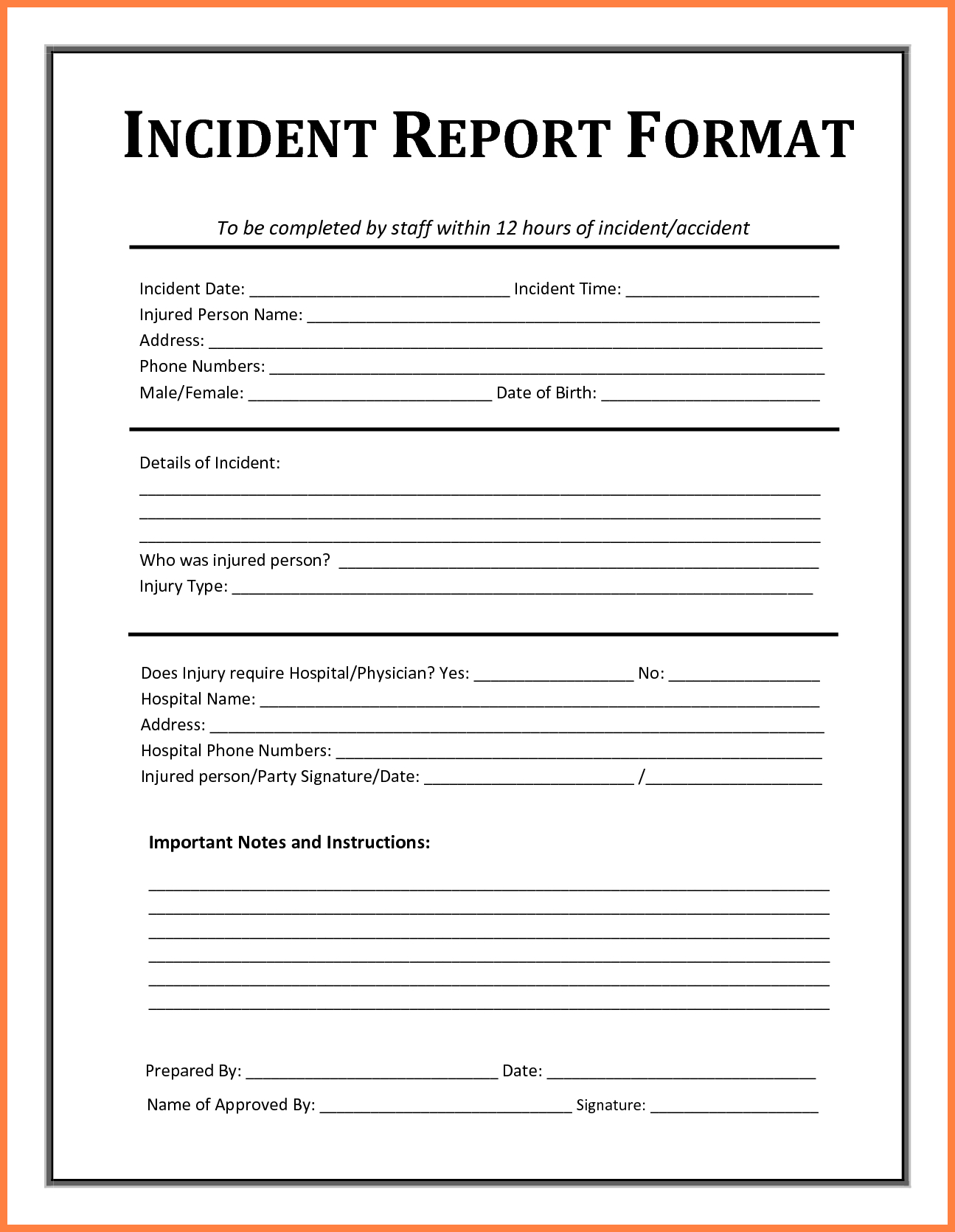 Accident Book Template Throughout Incident Report Book Template