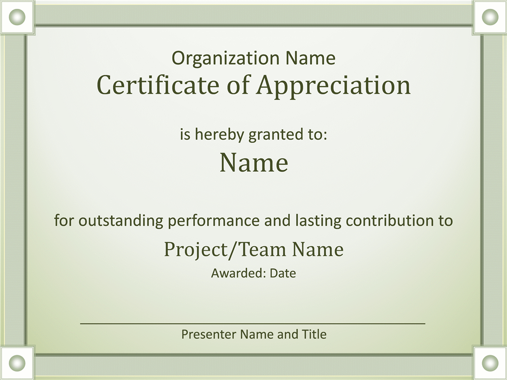 Acknowledge Outstanding Performance Certificate Of Appreciation With Best Performance Certificate Template