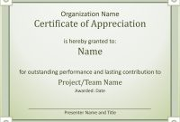 Acknowledge Outstanding Performance Certificate Of Appreciation with Employee Anniversary Certificate Template