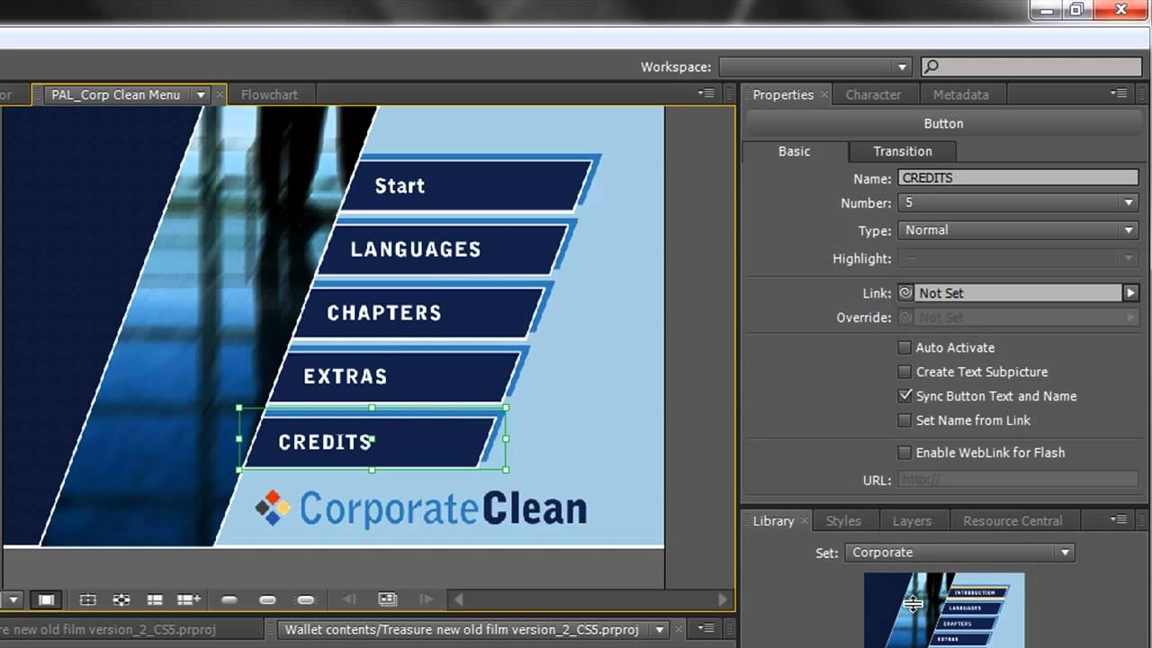 Adobe Encore Basics  Creating Menus  Youtube In Adobe Encore Menu Templates