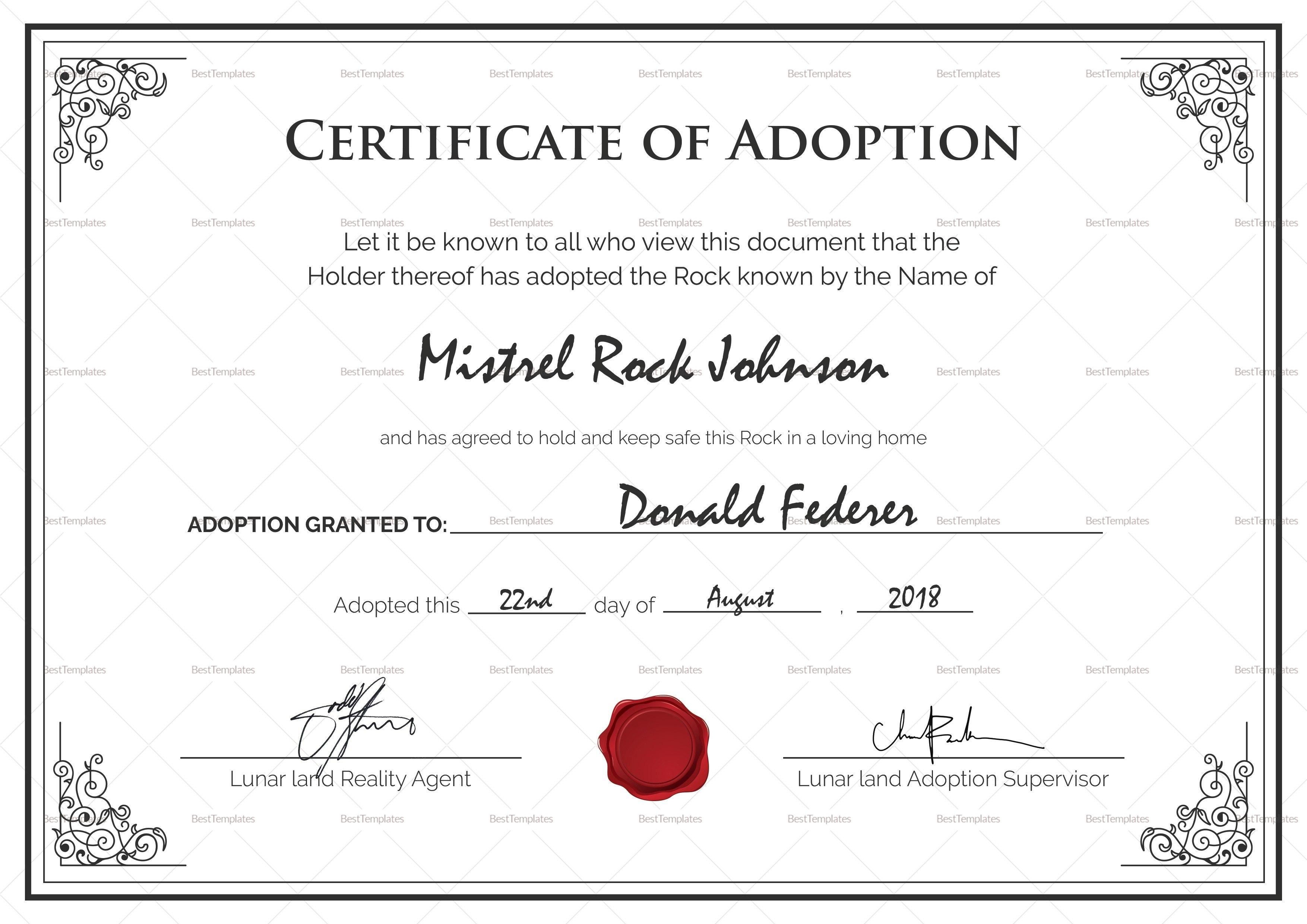 Adoption Certificate Template Best Birth Design In Psd Word Of Inside Adoption Certificate Template