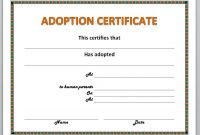 Adoption Certificate Template with regard to Adoption Certificate Template