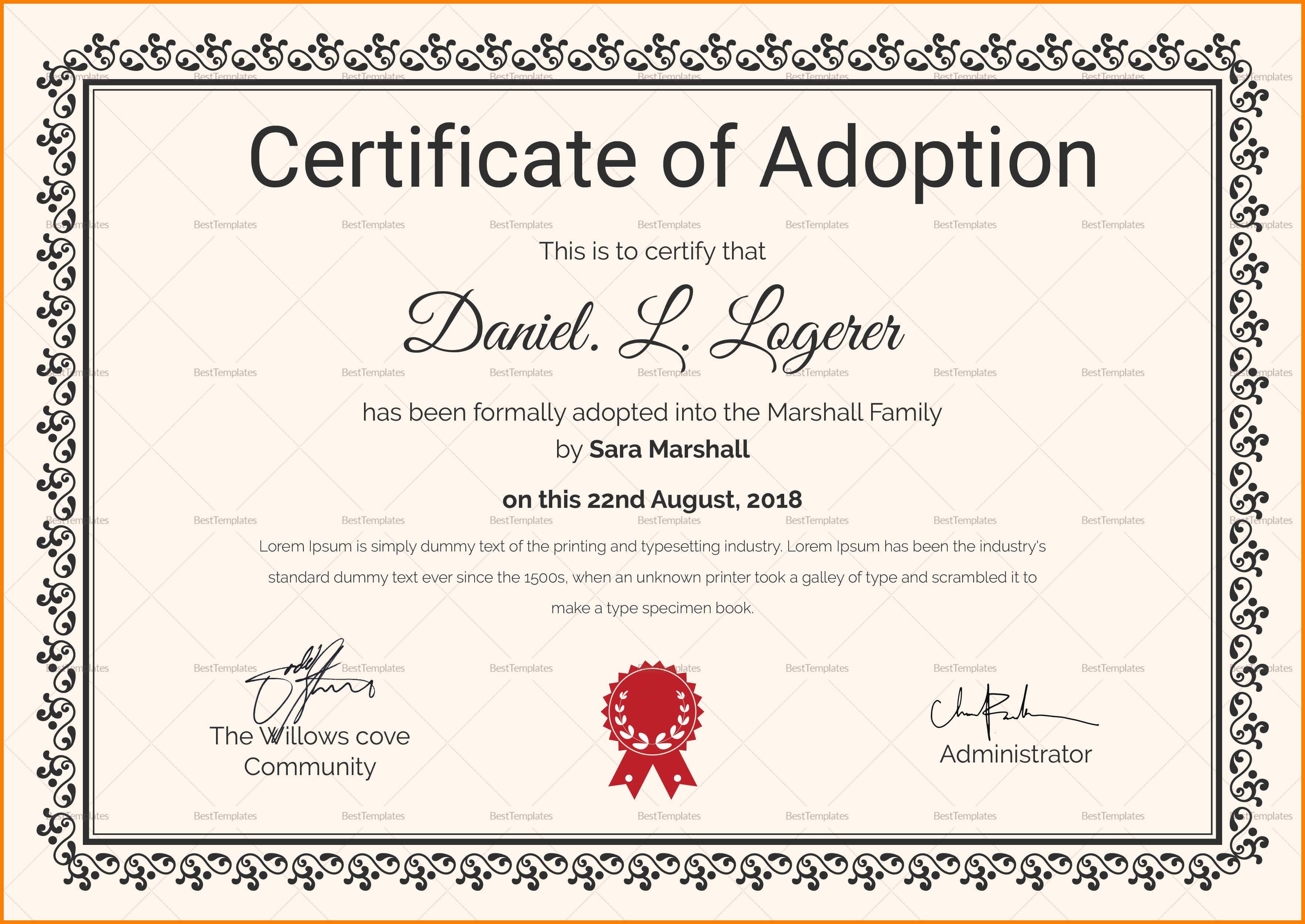 Adoption Certificate Templates  Proto Politics Pertaining To Blank Adoption Certificate Template