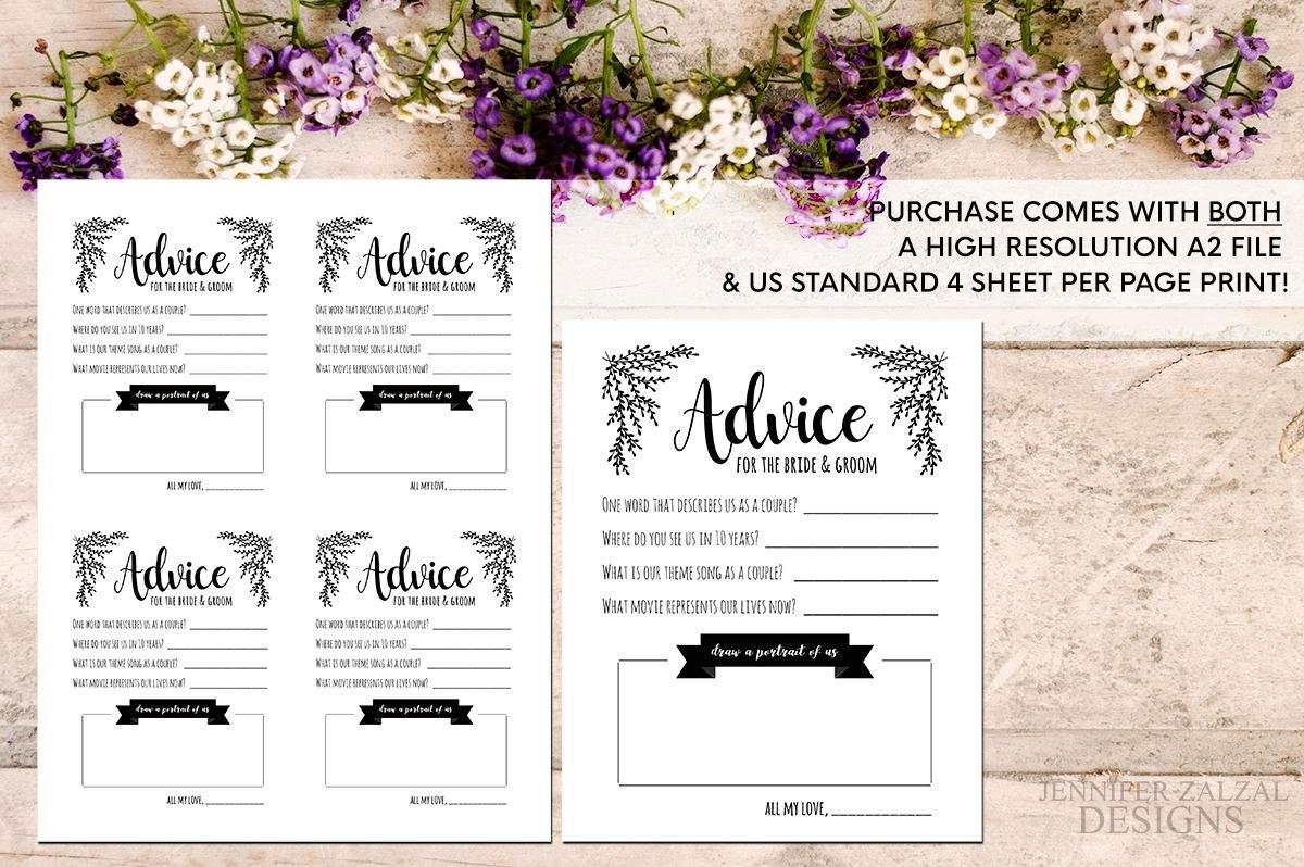 Advice Card Template Advice For The Newlyweds Marriage Advice For Marriage Advice Cards Templates