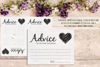 Advice Card Template Advice For The Newlyweds Marriage Advice Marriage  Advice Card Rustic Advice Cards Advice For The Couple Pdf File pertaining to Marriage Advice Cards Templates