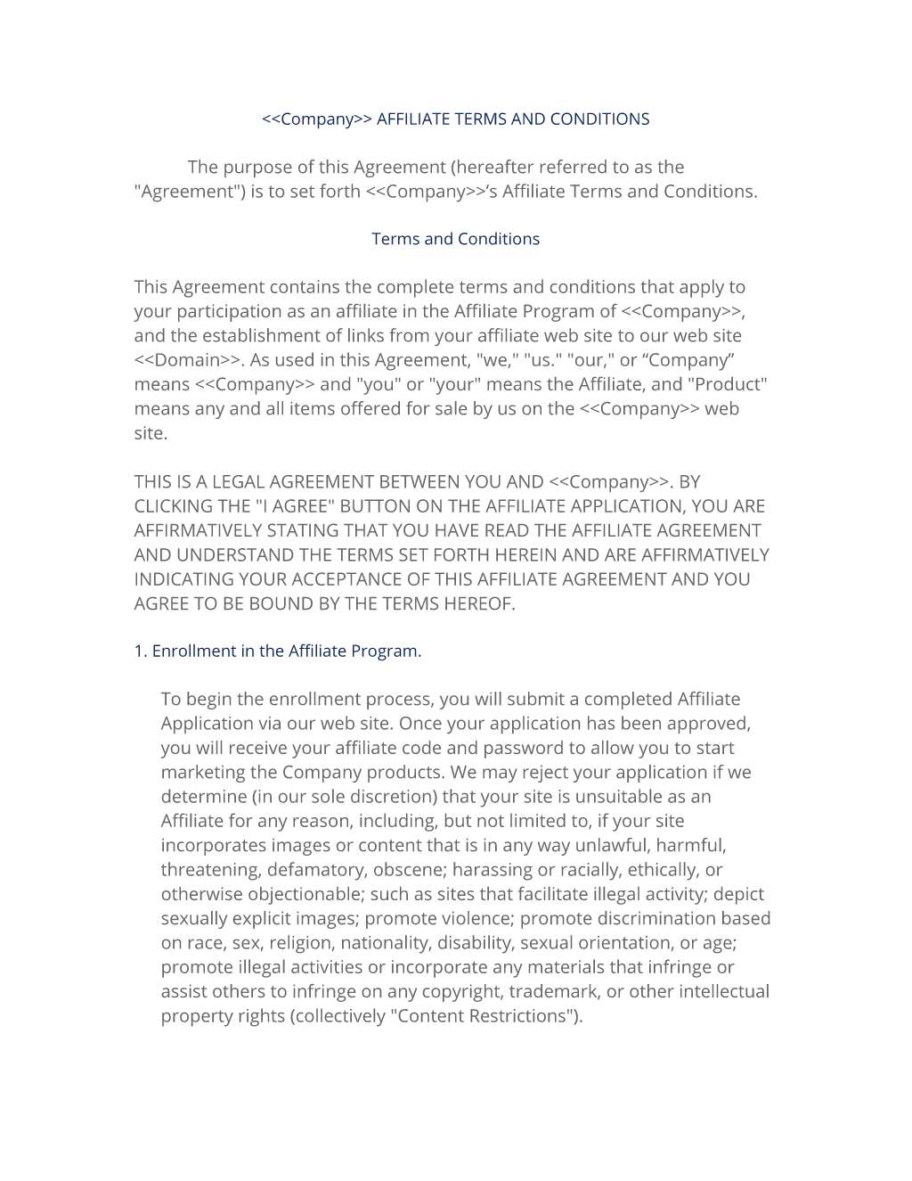 Affiliate Terms Policy Template   Easy Steps Pertaining To Program Participation Agreement Template