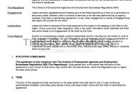 Agency  Artist Contract Template Uk Use Only throughout Artist Management Contract Templates