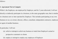Agreement Non Compete Agreement Sample – Non Compete Clause Form with regard to Free Non Compete Agreement Template