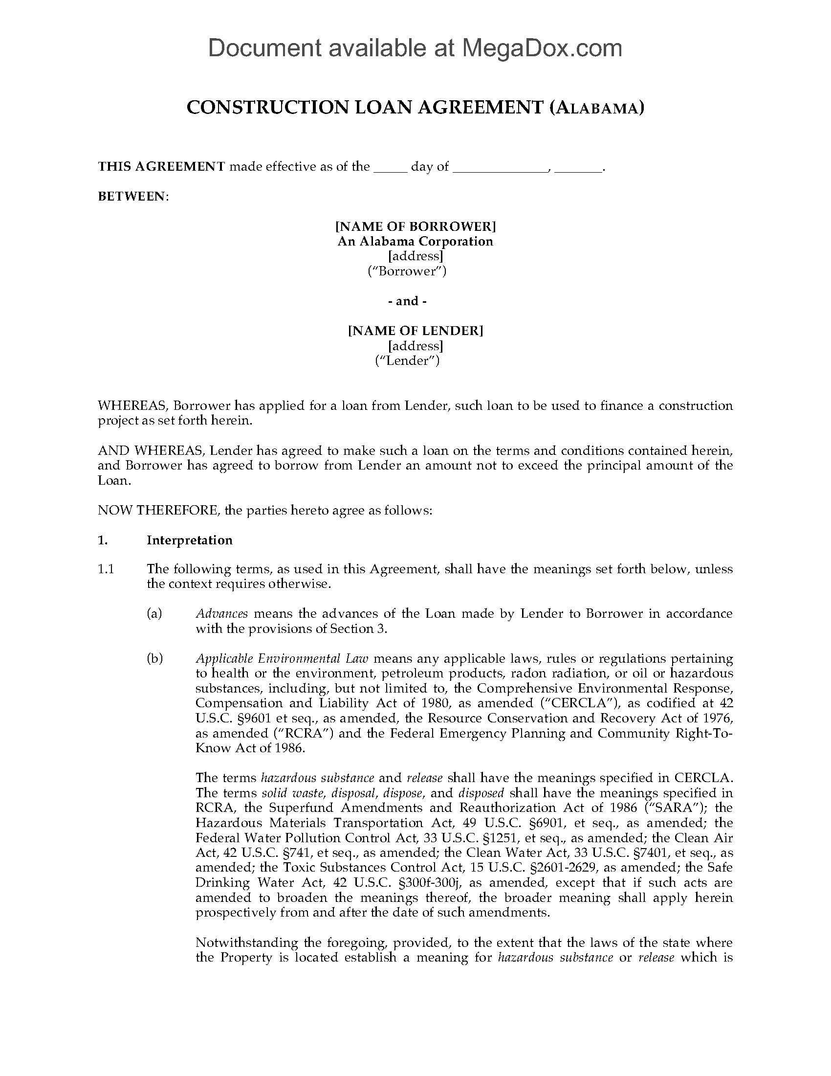 Alabama Construction Loan Agreement  Legal Forms And Business Intended For Construction Loan Agreement Template
