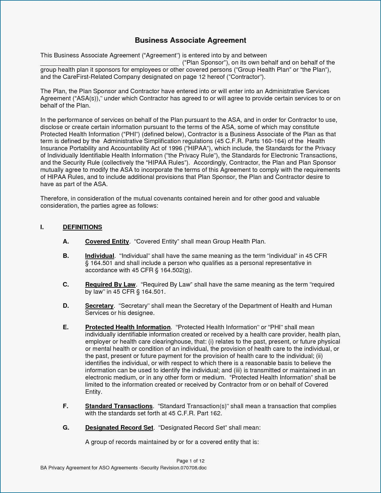 Amazing Free Business Associate Agreement Template Inside Free Hipaa Business Associate Agreement Template 2018