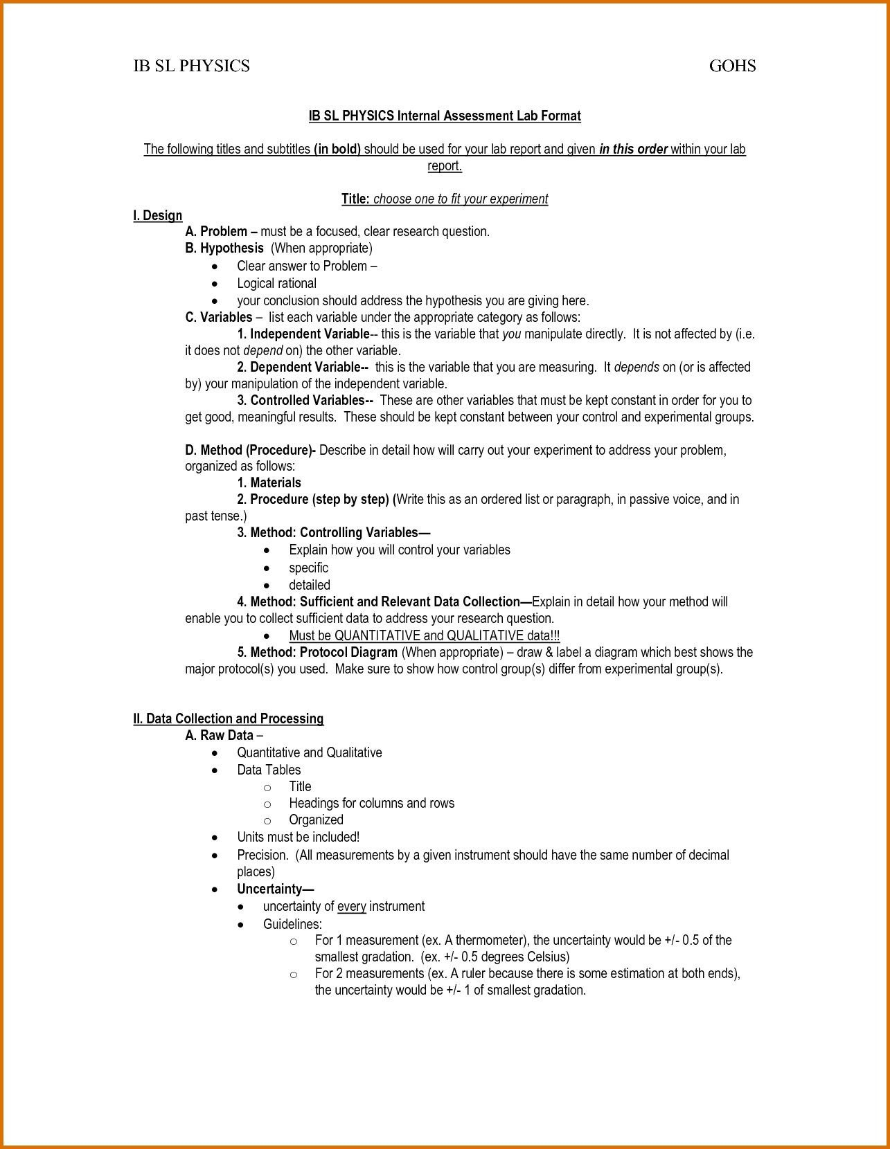 Apa Format For Lab Report  Resume Letter Throughout Ib Lab Report Template