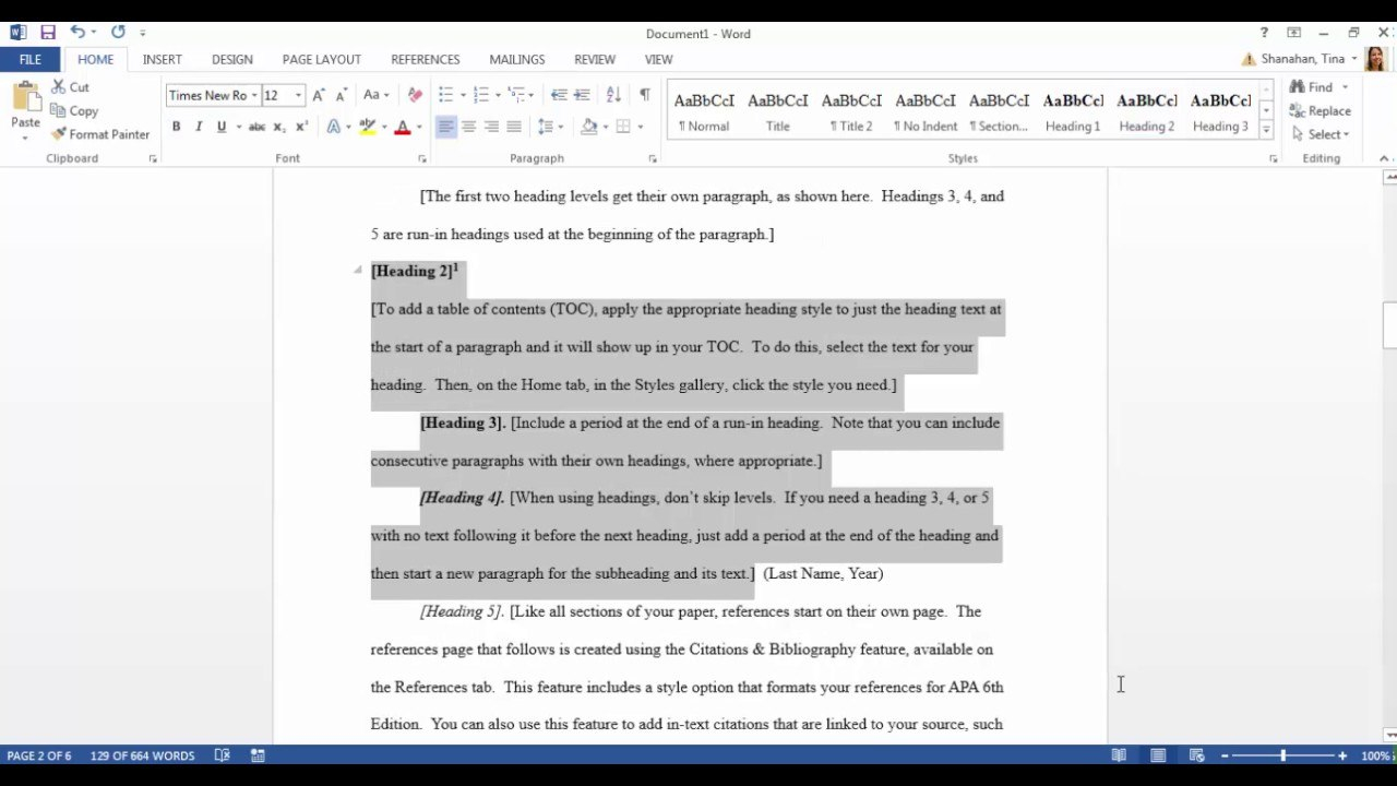 Apa Template In Microsoft Word   Youtube Within Apa Table Template Word