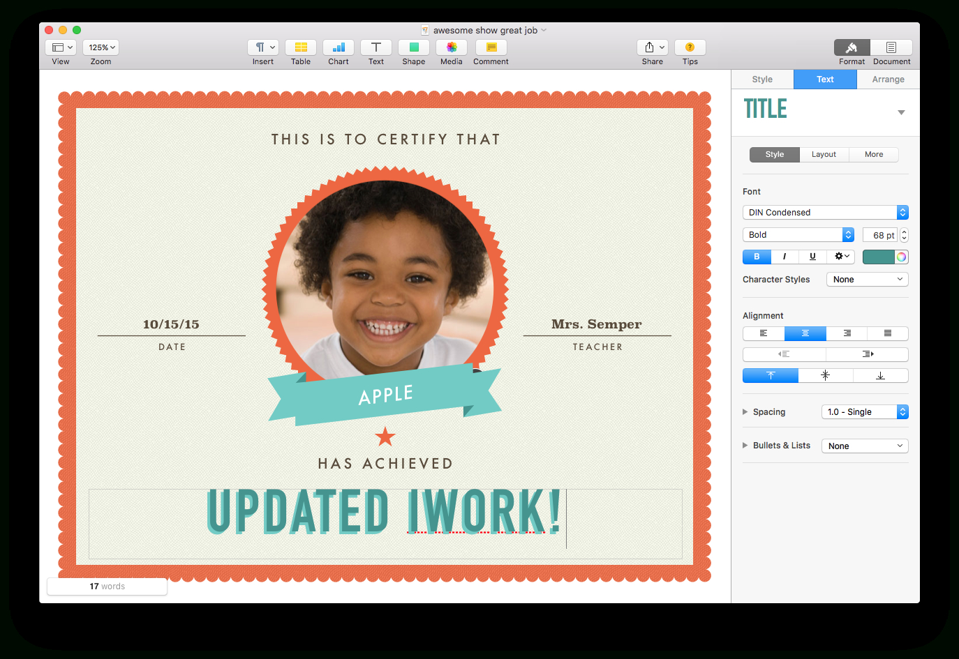 Apple Updates Iwork For Mac With Force Touch And Split View Support In Certificate Template For Pages