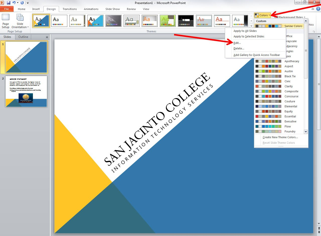 Applying And Modifying Themes In Powerpoint   Information With Change Template In Powerpoint