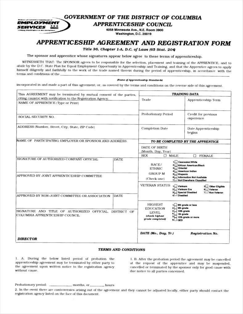 Apprenticeship Application Form Templates  Free Word Pdf Excel Regarding Apprenticeship Agreement Template