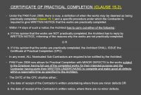 Architect's Certification Under The Pam Contract  Preparedar for Jct Practical Completion Certificate Template