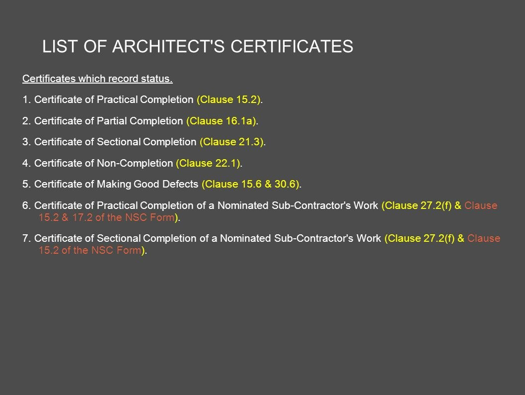 Architect's Certification Under The Pam Contract  Preparedar In Jct Practical Completion Certificate Template