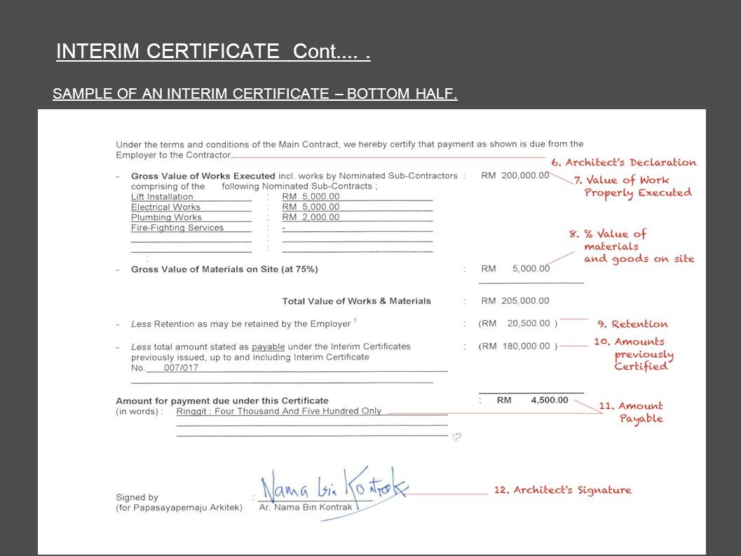 Architect's Certification Under The Pam Contract  Preparedar Throughout Construction Payment Certificate Template