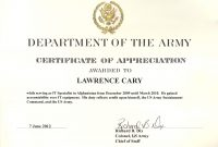 Army Appreciation Certificate Templates  Pdf Docx  Free in Army Certificate Of Completion Template