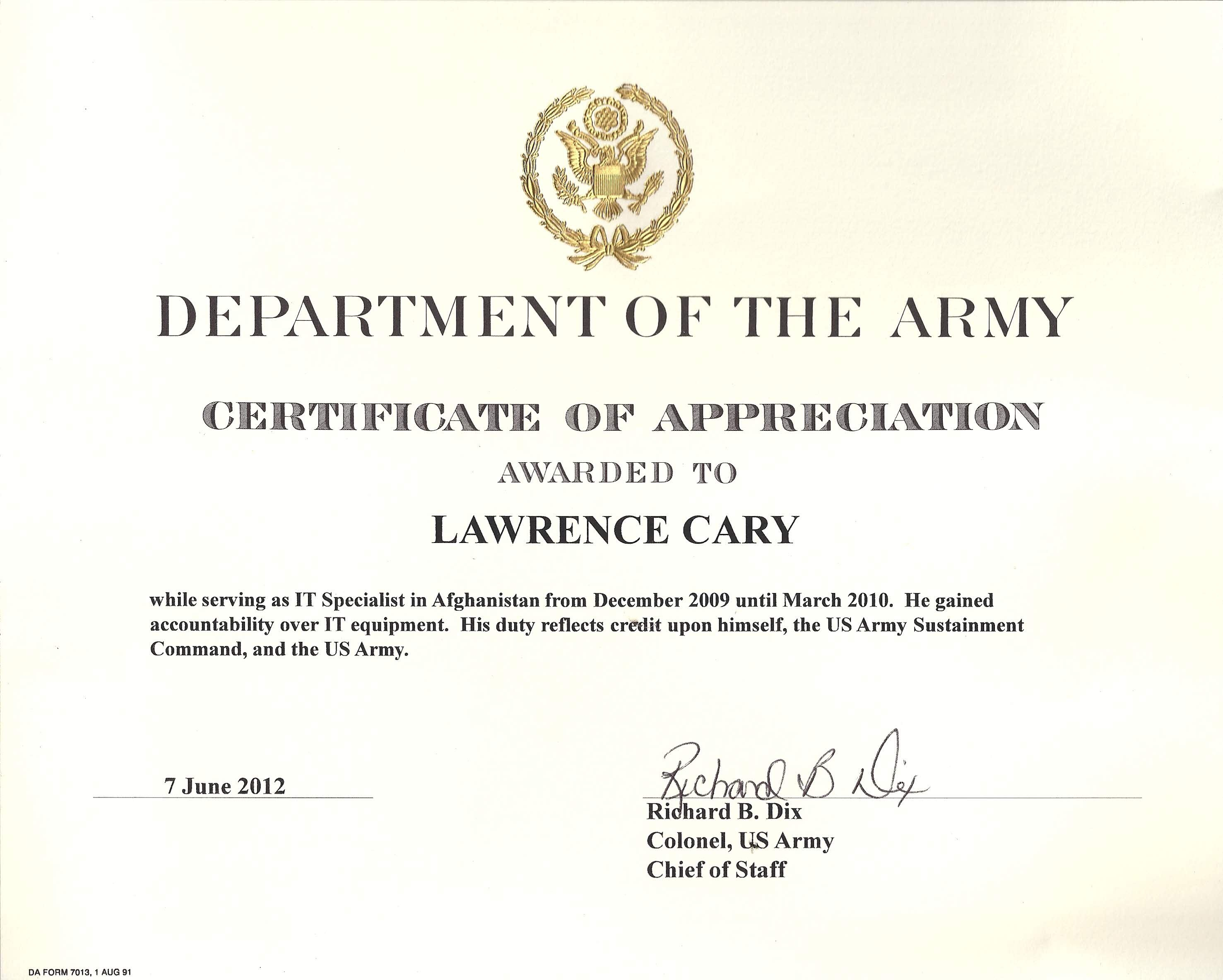 Army Appreciation Certificate Templates  Pdf Docx  Free With Certificate Of Achievement Army Template