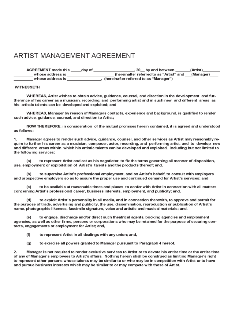 Artist Management Contract Template Free Download Throughout Artist Management Contract Templates