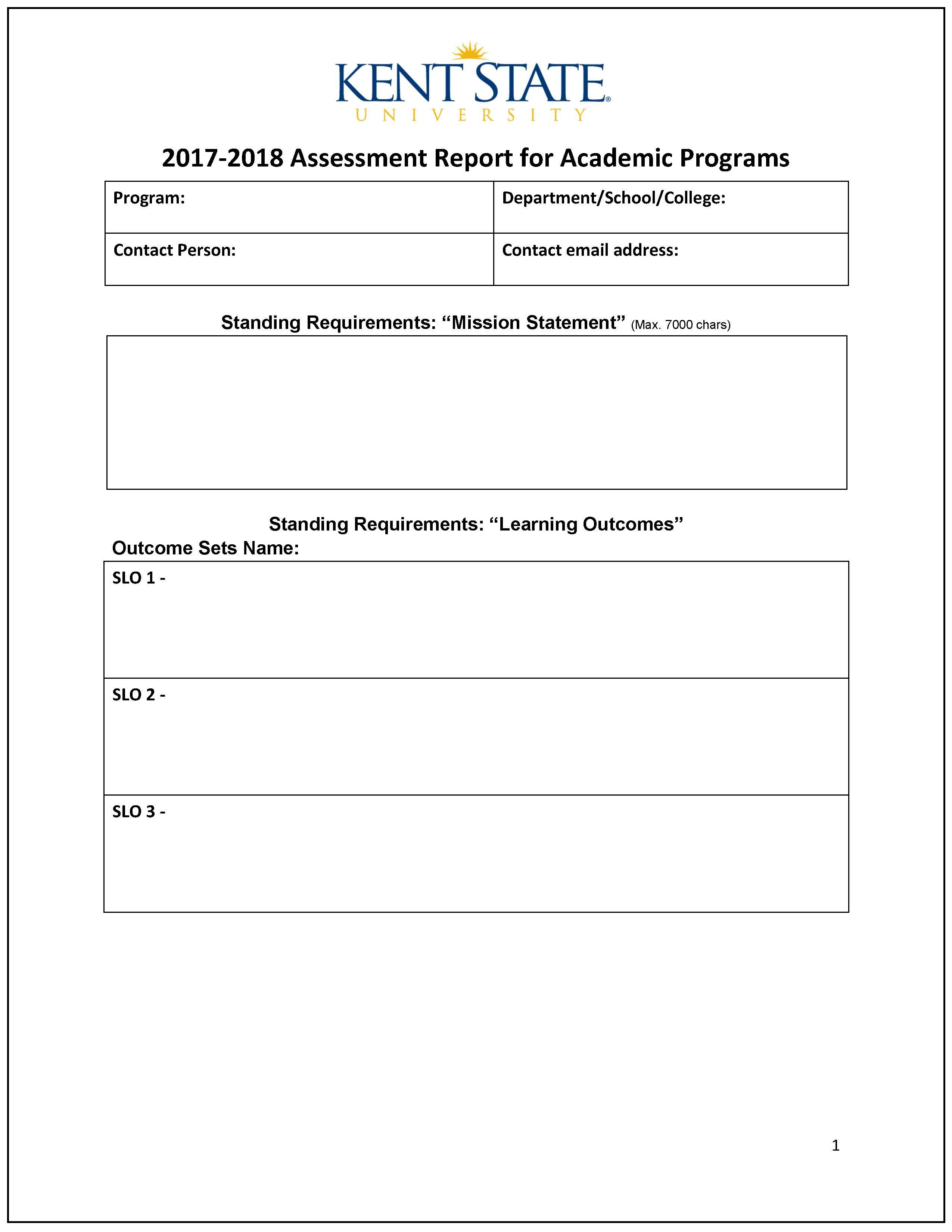 Assessment Report  Word Template  Accreditation Assessment And In State Report Template