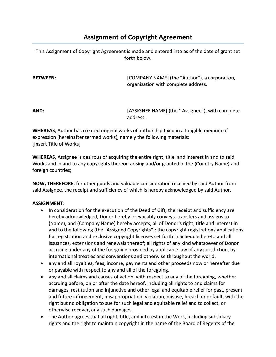Assignment Of Copyright Agreement  Agreement Templates  Words Throughout Copyright Assignment Agreement Template