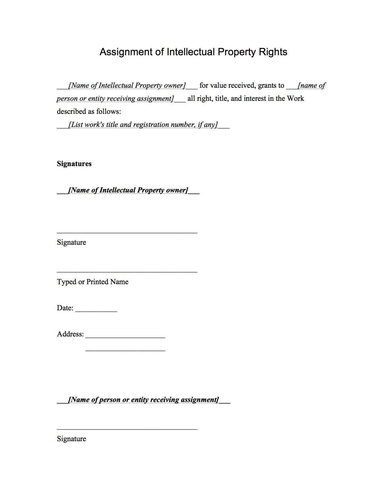 Assignment Of Intellectual Property Rights Agreement Template Regarding Intellectual Property Assignment Agreement Template