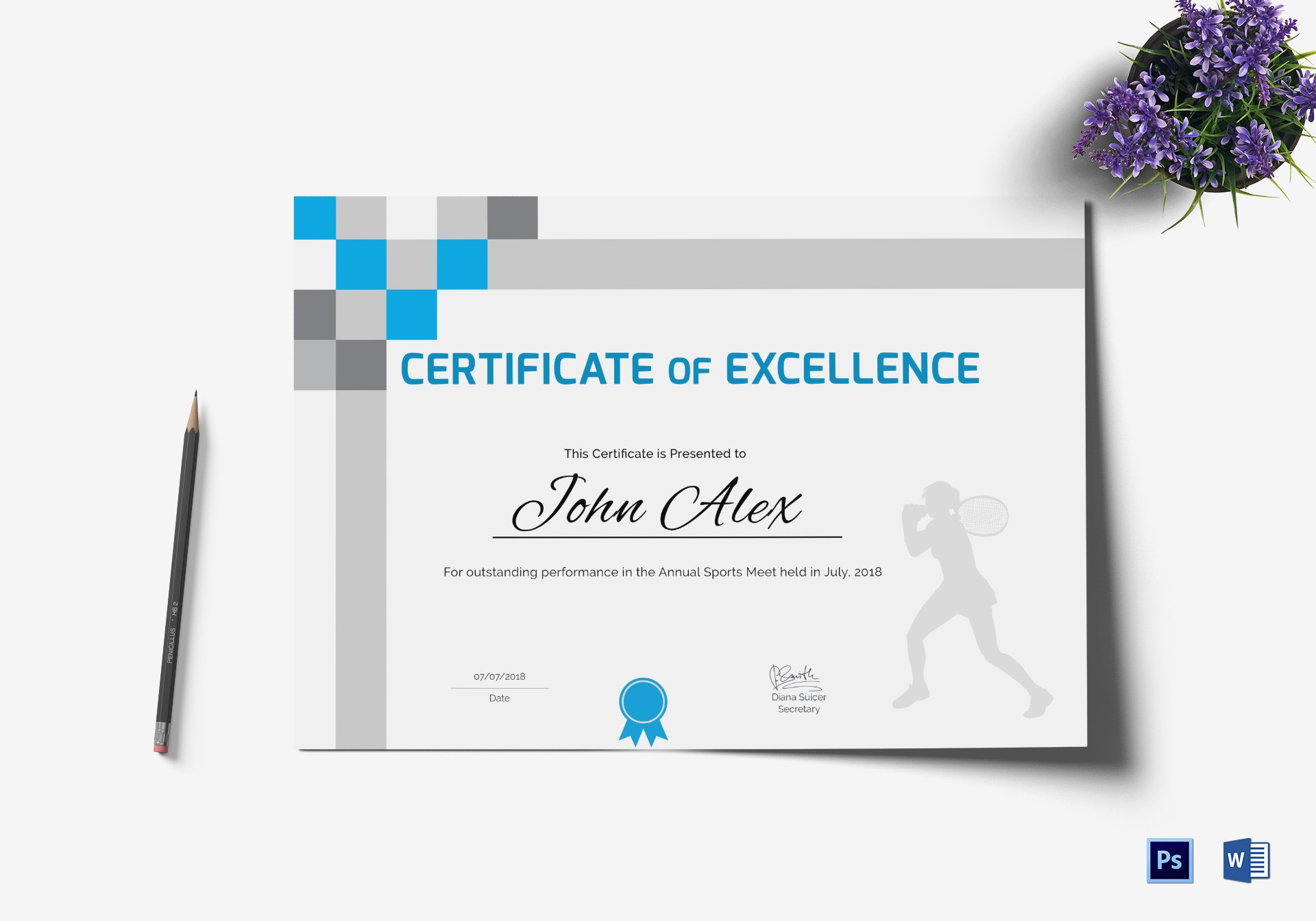 Athletic Excellence Certificate Design Template In Psd Word For Athletic Certificate Template