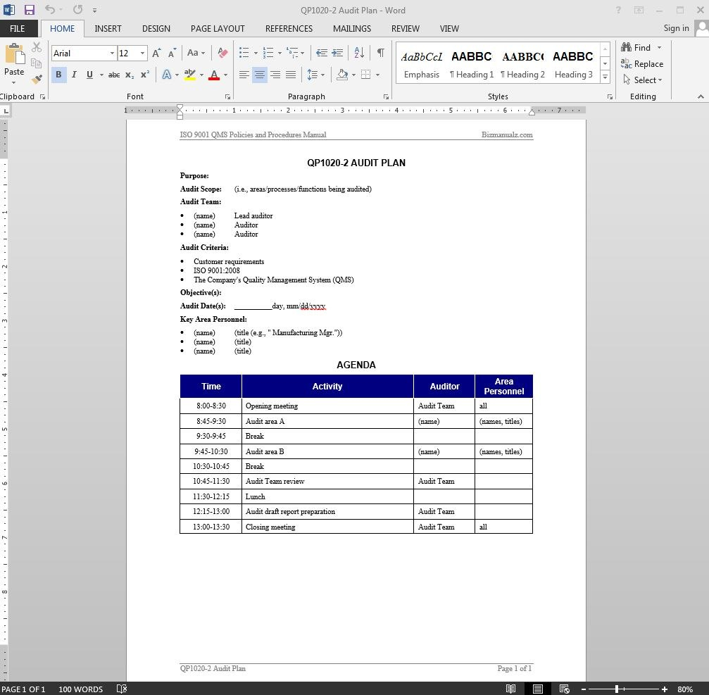 Audit Plan Iso Template Regarding It Audit Report Template Word