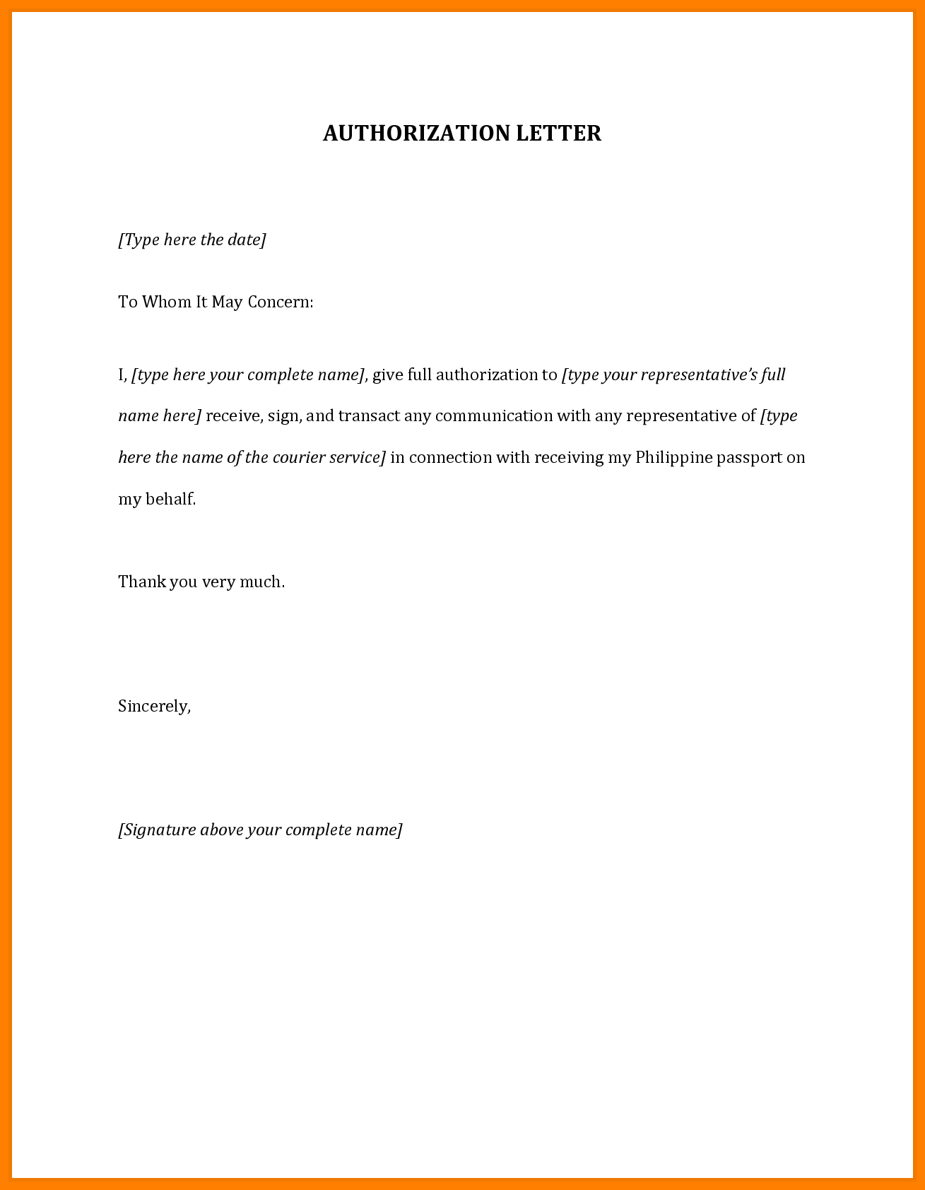 Authorization Letter   Best Authorization Letter Samples And In Certificate Of Authorization Template