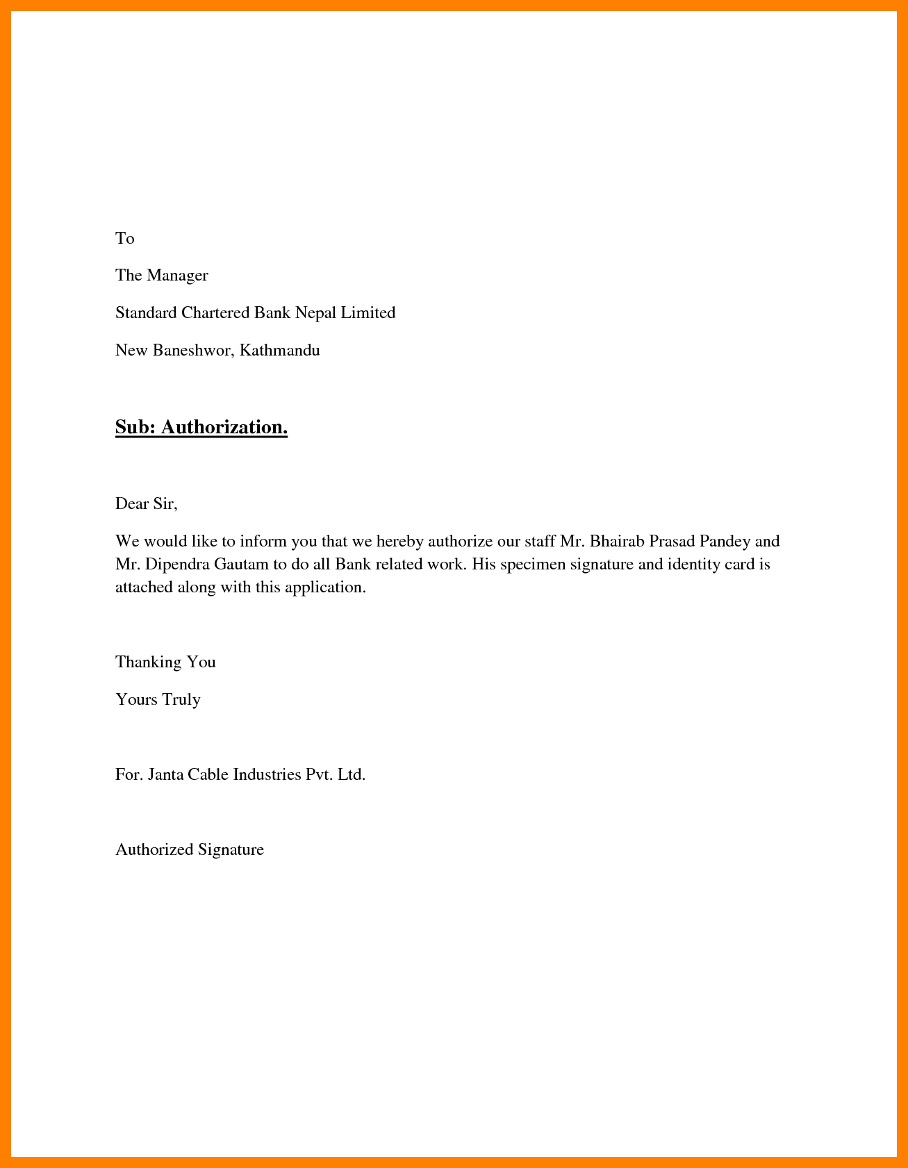 Authorization Letter For Certificate Of Authorization Template