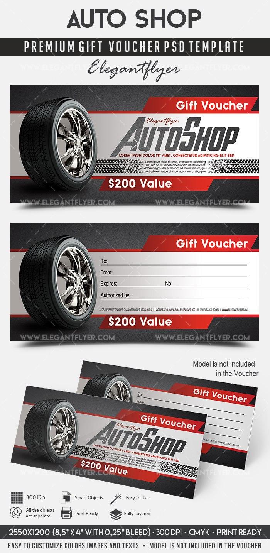 Auto Shop – Premium Gift Certificate Psd Template –Elegantflyer Pertaining To Automotive Gift Certificate Template
