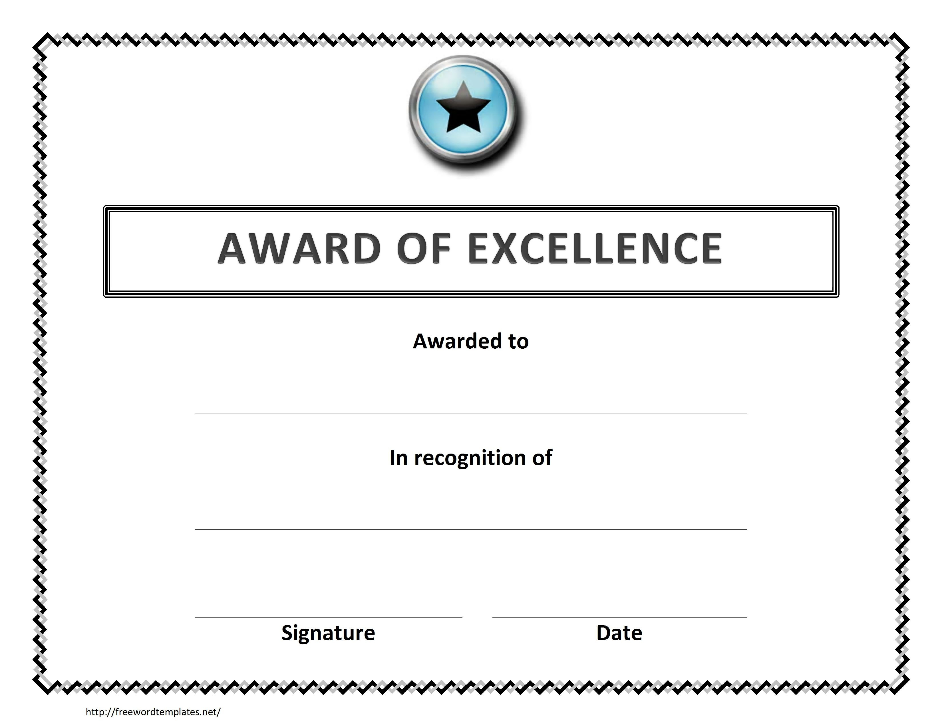 Award Of Excellence Certificate Template  Sansurabionetassociats Intended For Certificate Of Excellence Template Word