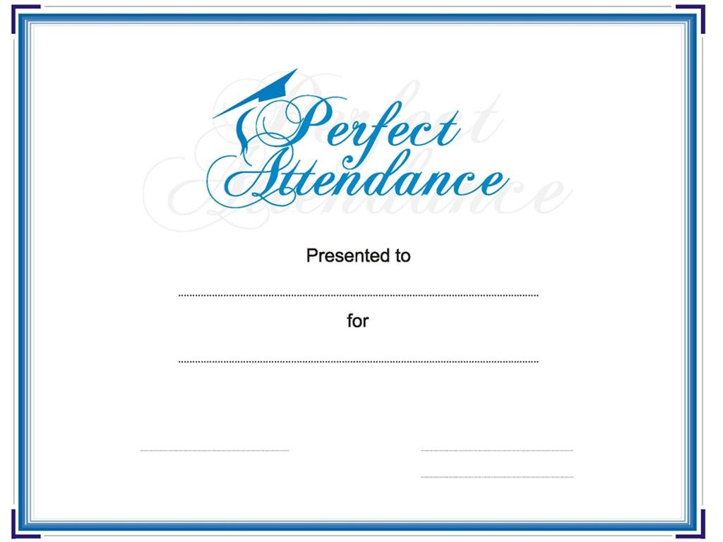 Award Your Student Or Employee For Perfect Attendance This Intended For Perfect Attendance Certificate Free Template