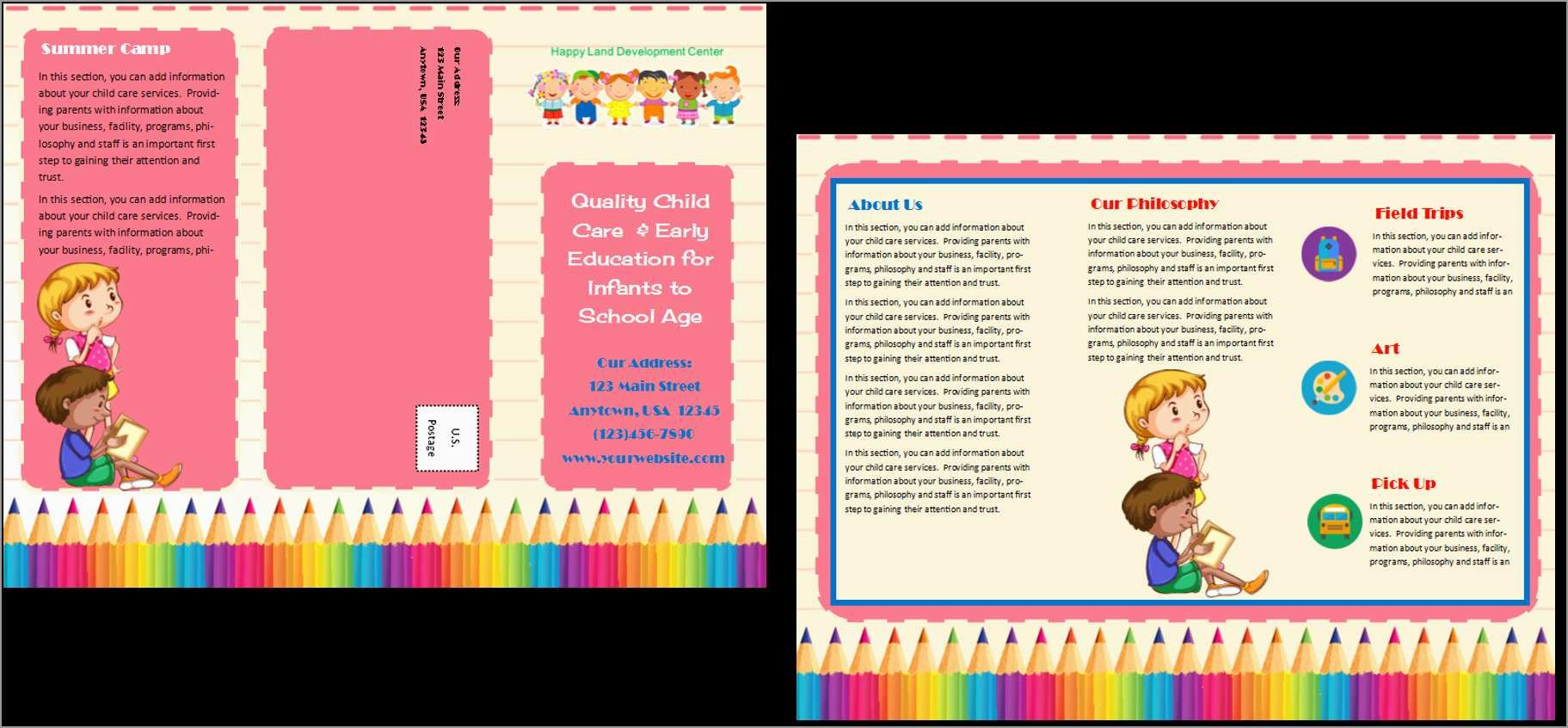 Awesome Preschool Brochure Template Free  Best Of Template with regard to Daycare Brochure Template