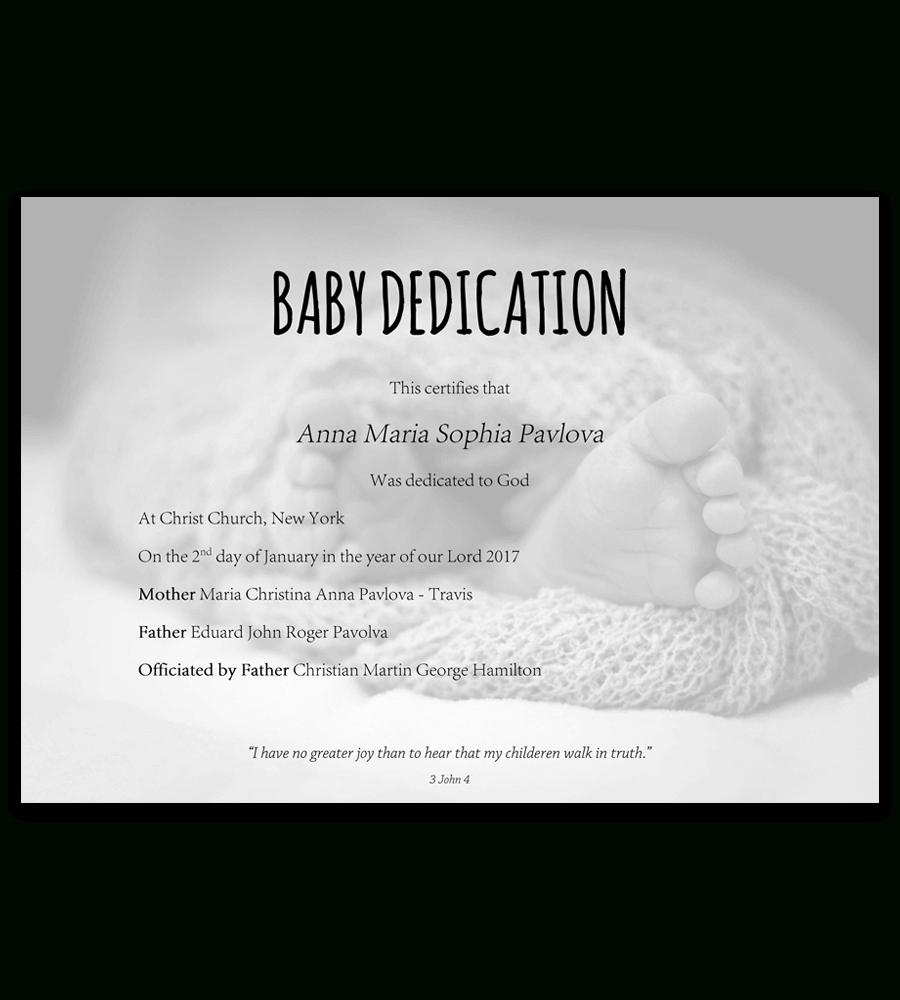 Baby Dedication Certificate Template For Word Free Printable Intended For Baby Dedication Certificate Template