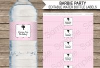 Barbie Party Water Bottle Labels  Editable Template pertaining to Minnie Mouse Water Bottle Labels Template