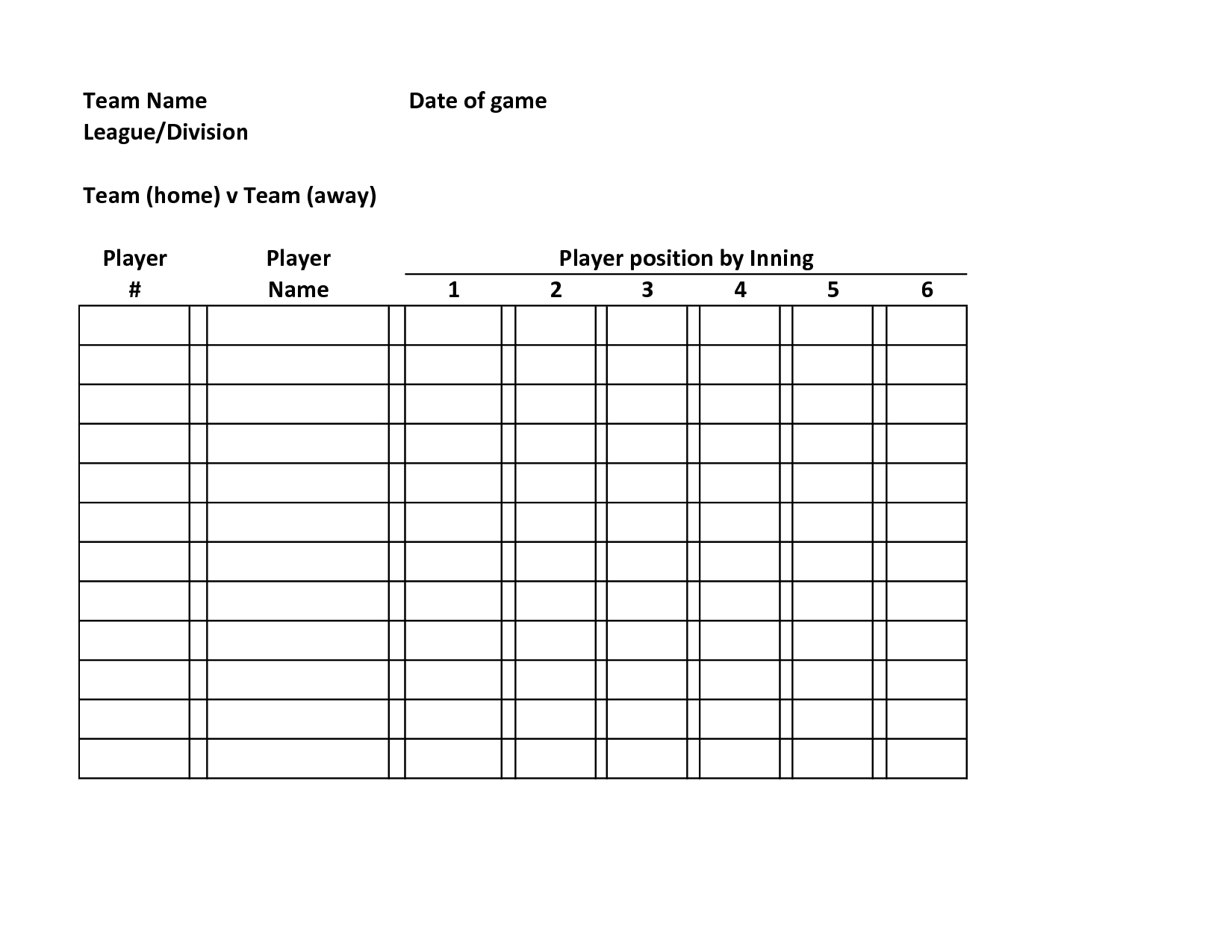 Baseball Lineup Defensive  Baseball Roster Template Team Name Date Intended For Free Baseball Lineup Card Template
