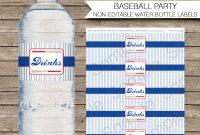 Baseball Water Bottle Labels  Birthday Party inside Drink Bottle Label Template