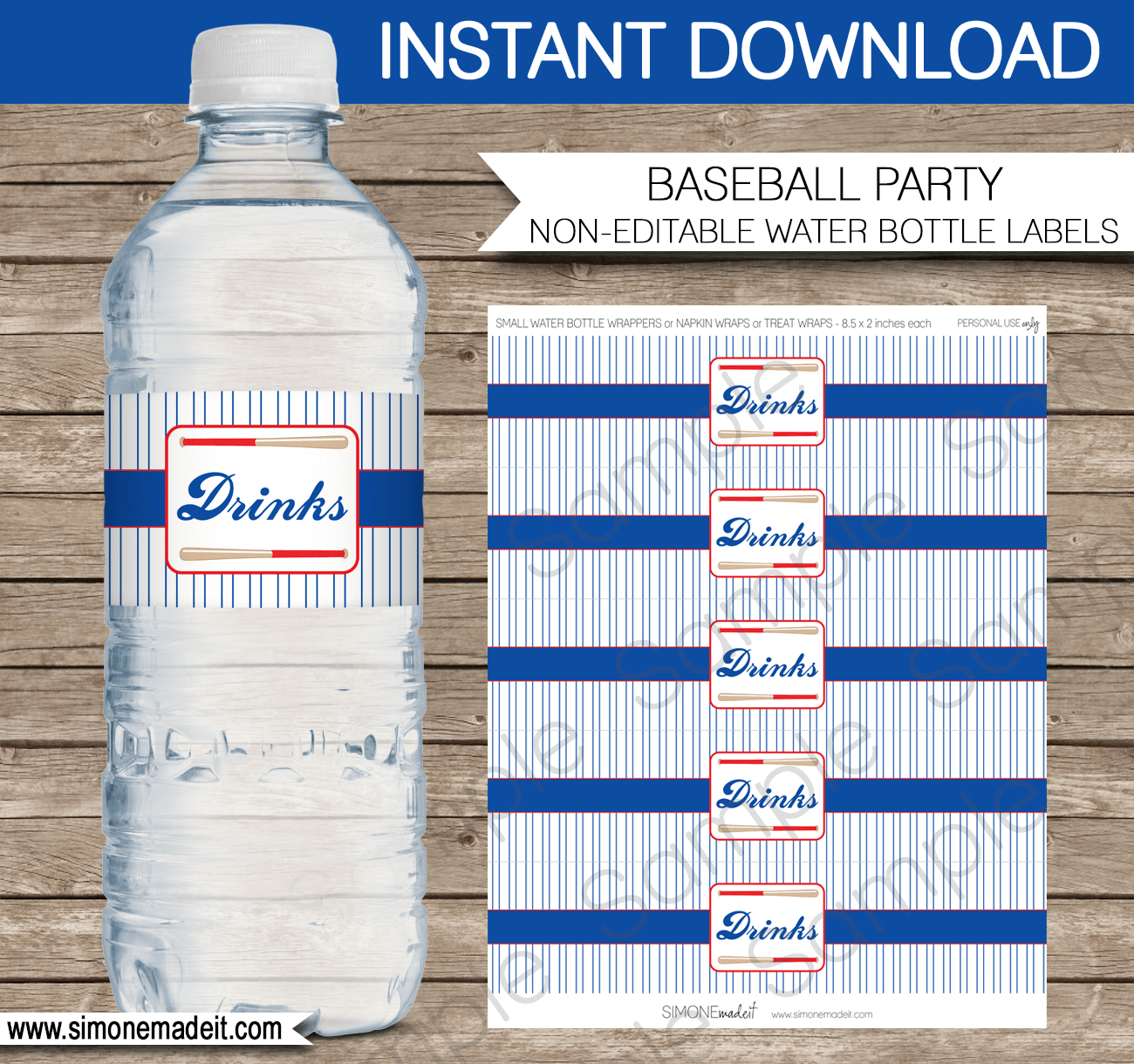 Baseball Water Bottle Labels  Birthday Party Pertaining To Birthday Water Bottle Labels Template Free