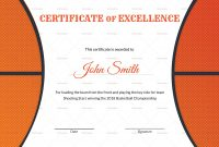 Basketball Excellence Award Certificate Design Template In Psd Word with Basketball Certificate Template