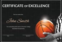 Basketball Excellence Certificate Design Template In Psd Word inside Basketball Certificate Template